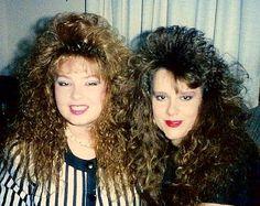 blast from the past--big hair pair! 80s Big Hair, 1980s Hair, Bad Hair, 80s Curly Hair, Eighties Hair, Teased Hair, Thick Curly Hair, Curly Bangs, Hair