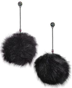 """Rock colorful chic with these Betsey Johnson xox earrings, feauturing gold-tone metal finished with an acrylic faux fur pom pom for spectacular color. Dimensions: 1/2""""-4/5""""L x 2/5""""-3/4""""W 