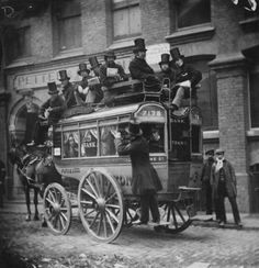 Horse Bus - This was taken in 1865. London population had exceeded 25 million people at the time. The bus was so crowded, people sat on the roof since seats were limited on a single level bus.