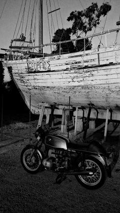 R100 cafe racer & old ship