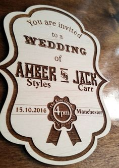 10x Laser cut wooden wedding invitations, save the date cards personalised rustic wedding country style lable + envelopes by Stylishmoments on Etsy