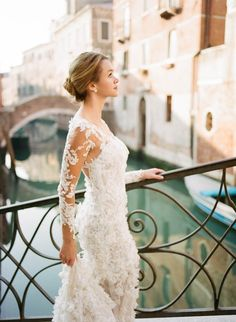WE ♥ THIS!  ----------------------------- Original Pin Caption: It Doesn't Get More Beautiful Than a Pronovias Gown in the Streets of Venice