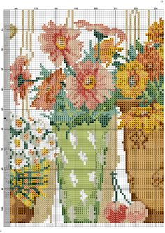 Kanaviçe Saksıda Çiçek Örnekleri (4)