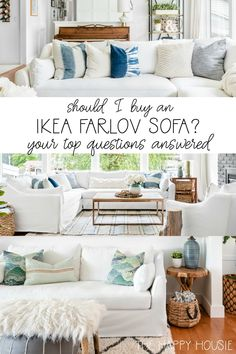 Review of the Ikea Farlov Sofa Line Two Years In   The Happy Housie   Things to know before purchasing and my honest review of the Ikea Farlov line after owning a sectional, sofa for over two years and the chairs for four years in our family's living room. #ikea #livingroom #sofa Living Room On A Budget, Cozy Living Rooms, Living Room Decor, Living Spaces, Living Room Furniture Arrangement, Blue Home Decor, Family Room Decorating, Ikea, Cottage