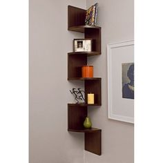 Walnut Corner Shelf Zig Zag Curio Display Home Decor Wall Mount Shelves Cabinet