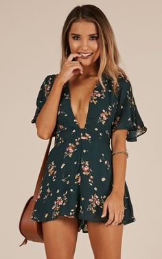 Perfect Moments Playsuit In Green Floral Produced - sweet teen girls - Fashion Classy Outfits, Chic Outfits, Dress Outfits, Summer Outfits, Fashion Outfits, Summer Dresses, Womens Fashion, Green Outfits For Women, Gothic Fashion