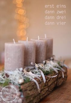 Craft idea: Cute Christmas wreath /// Playful Christmas wreath … - Home Page Christmas Advent Wreath, Christmas Fairy, Christmas Candles, Christmas Love, Winter Christmas, All Things Christmas, Christmas Crafts, Christmas Decorations, Xmas