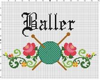 Baller - Funny Work Home Knitting Crochet Crafty Subversive Cross Stitch Pattern - Instant Download by SnarkyArtCompany on Etsy
