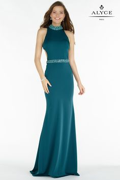 Alyce 8007 stretch crepe slim gown with a halter top embellished at the waist and neck, open mid back with thick straps. - - Alyce 8007 stretch crepe slim gown with a halter top embellished at the waist and neck, open mid back with thick straps. - Prom D Prom Dresses Uk, Formal Dresses, Robes D'occasion, Prom Dress Shopping, Dream Dress, Special Occasion Dresses, Designer Dresses, Gowns, Paris