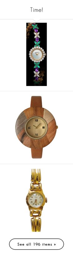 """""""Time!"""" by thesassystewart on Polyvore featuring jewelry, watches, brown jewelry, brown leather wrist watch, brown leather watches, bezel jewelry, leather jewelry, red, pre owned jewelry and red gold jewelry"""
