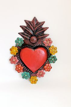 Tin sacred heart Mexican wall art multicolored