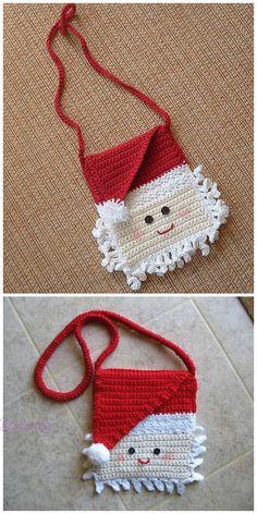 Best No Cost Crochet Patterns purse Thoughts Christmas Crochet Santa Purse Messager Bag Free Crochet Pattern, Crochet Santa, Crochet Diy, Crochet For Kids, Crochet Ideas, Small Crochet Gifts, Free Crochet Bag, Crochet Bags, Crochet Christmas Decorations, Christmas Patterns