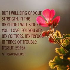 But I will sing of your strength, in the morning I will sing of your love; for you are my fortress, my refuge in times of trouble. (Psalm 59:16)