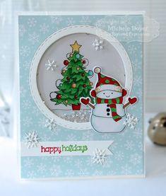 Winter snowman shaker card - bjl
