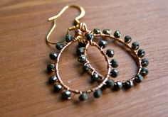 Pyrite Studded Earrings Hand Wire Wrapped in by NovelDesigns, $20.00