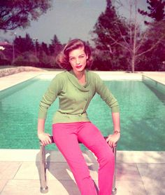 Lauren Bacall (love the colours in this shot). Wish i had the stuff to wear that color combo