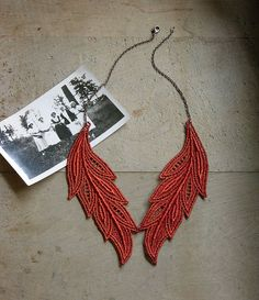 lace necklace // MUSE // brick red / lace jewelry / by whiteowl
