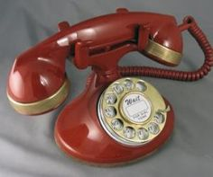 Deep Red with Brass Trim - This 202 dates from the early and has been refinished in a deep red using a product called Polane. Vintage Phones, Vintage Telephone, Old Phone, Landline Phone, Brass, Cabaret, Ruby Red, Becca, Red Color