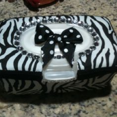 Wipe container that I covered for a baby shower gift