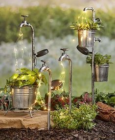 Accent your garden with fun lighted items from this Solar Faucet Water Light Collection. Each item has authentic appeal and features multiple strings o