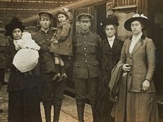 Soldiers from the Household Battalion leaving for the front bid farewell to their families at Waterloo station, London, in 1916. The photograph is one of about 2,500 by Christina Broom, the UK's first female press photographer, newly acquired by the Museum of London. The Museum of London