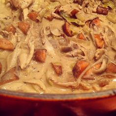 Day #318 - roasted chicken and carrots simmering as a pie filling with creamy mustard and leek sauce