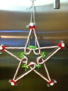 Here is the candy cane star I made for my secret pal.