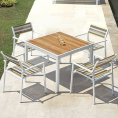 Found it at AllModern - Allux 5 Piece Dining Set 5 Piece Dining Set, Dining Chair Set, Lounge Chairs, Outdoor Dining Set, Outdoor Living, Patio Bar Set, Bistro Set, All Modern, Modern Furniture