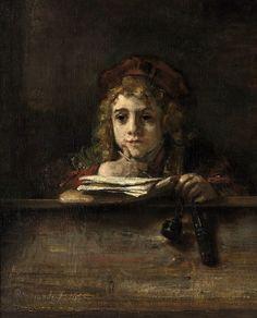 Титус за партой. Харменс ван Рейн Рембрандт