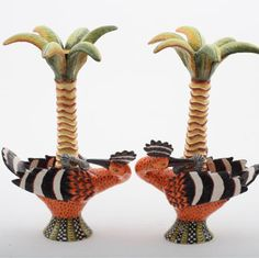 Ardmore Ceramics African Wood Hoopoe Candlesticks pair