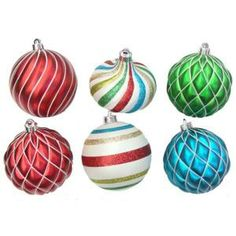 Christmas Collectibles 5 in. Red, Green, Blue, and White Ornaments (9-Set)-TSS-940547C at The Home Depot