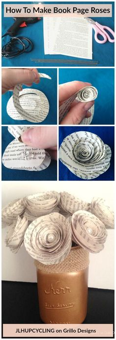 How to Make Book Page Roses Jen Holz from JLHUPCYCLING shares how to create gorgeous looking roses from book pages! Simple, easy and quick to do. See full tutorial here Old Book Crafts, Book Page Crafts, Book Page Art, Book Pages, Craft Books, Old Book Art, Fun Crafts, Crafts For Kids, Arts And Crafts