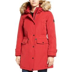 Women's Michael Michael Kors Faux Fur Trim Down & Feather Fill Parka (710 ILS) ❤ liked on Polyvore featuring outerwear, coats, red, faux fur coat, cold weather coats, parka coat, red coat and red parka coat