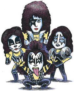Encyclopaedia of Rock - Kerrang! Encyclopaedia of Rock on Behance - Banda Kiss, Paul Stanley, Gene Simmons, Rock Logos, Kiss Rock, Kiss Costume, Kiss World, Music Collage, Kiss Art