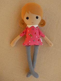 Fabric Doll Rag Doll Girl in Pink Elf Print Dress by rovingovine, $34.00