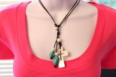 Leather Cord Freshwater Pearl Turquoise Silver Hammered Cross Lariat / Pendant Necklace BOHO Beach Chic on Etsy, $39.99