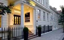 base2stay's London hotel entrance viewed from Courtfield Gardens, Kensington