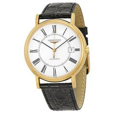 Longines Le Grande Classic White Dial Gold-plated Black Leather Mens Watch (W-L4-921-2-11-2)