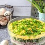 Warstwowa sałatka z jajkami, szynką i pieczarkami Guacamole, Feta, Mexican, Ethnic Recipes, Mexicans