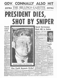 The Billings Gazette, Montana - Friday, Newspaper Front Pages, Vintage Newspaper, Newspaper Article, Culture Songs, Pop Culture, World History Facts, Interesting History, Interesting Stuff, Kennedy Assassination
