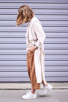 Style your culottes with a pair of white trainers and a mac. Love this mac: http://asos.do/TJRn1a