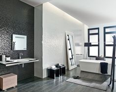 Dark Grey Tile Bathroom love the tile Bathroom Inspiration, Dark Grey Tile Bathroom, Traditional Bathroom Tile, Contemporary Bathroom, Modern Bathroom Tile, Contemporary Bathroom Designs, Tile Bathroom, Bathroom Wall Tile, Dark Grey Tile