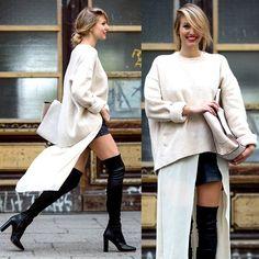 H&M Long Blouse, Zara Huge Knit, Zara Black Leather Shorts, Zara Overtheknee Boots, Zara Trapaze Bag