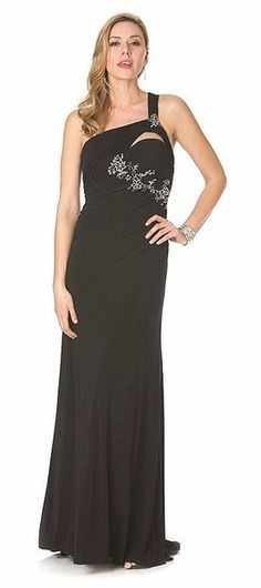 One Shoulder Strap Black Dress Formal Evening Gown Flower Embroidery $162.99