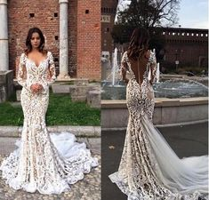 Modest Lace Mermaid Wedding Dresses With Long Sleeves V-Neck Trumpet Illusion Backless Bridal Gowns Sweep Train Wedding Dress - Braut Wedding Dress Train, Lace Mermaid Wedding Dress, Backless Wedding, Long Sleeve Wedding, Modest Wedding Dresses, Mermaid Dresses, Bridal Dresses, Wedding Gowns, Lace Dress