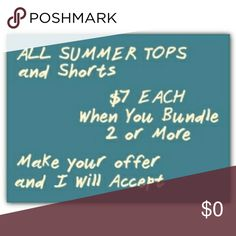 Summer Clearance Sale! All summer dresses, shorts, skirts & tops $7 each when you bundle 2 or more. Tops