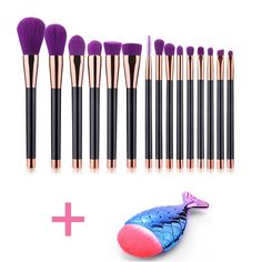 DSCbeauty 15 Pcs Makeup Brushes Set Plus 1pcs Mermaid Fish Shape Foundation Contour Blush Concealer Mascara Eyeshadow Blending Eyeliner Lip Bronzer Powder Cosmetics Brush Tool Kit (Black Purple). High quality premium synthetic hair with special deeply clean treatment brings you a heathy and comfortable daily makeup experience. Silky soft and smooth hair leaving a flawless and seamless finish without hair shed or scratch senstive skin. Well made porcelain imitation handle with gorgeous…