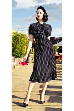 Lindy Bop - 1940's 1950's Amie Classy Black Vintage Polka Dot Flare