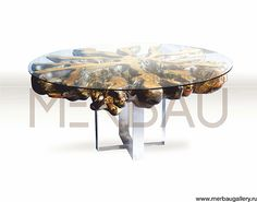 Table CAMADEVA, made from the teak tree root