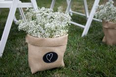 Large Burlap Bag with Re-Useable Chalkboard Labels for Outdoor